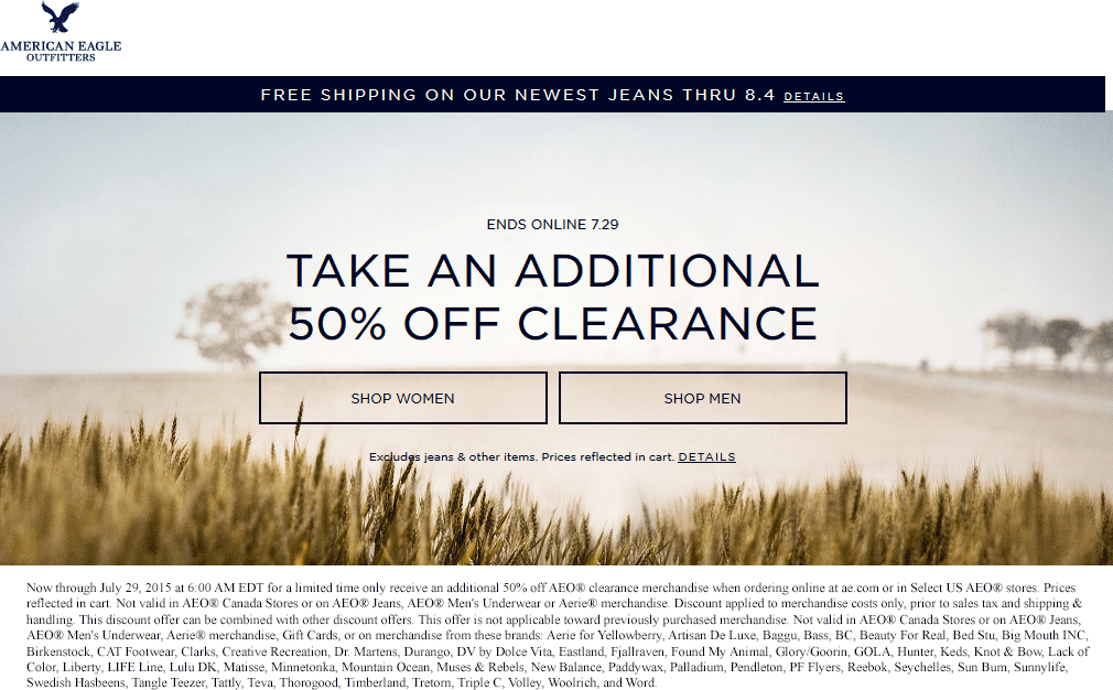 American Eagle Outfitters Coupon April 2017 Extra 50% off clearance at American Eagle Outfitters, ditto online