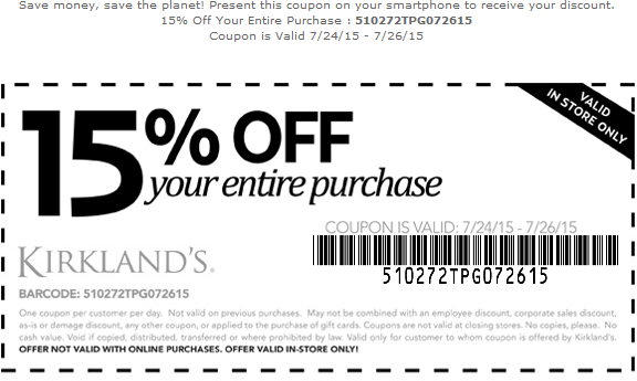 Kirklands Coupon December 2016 15% off at Kirklands
