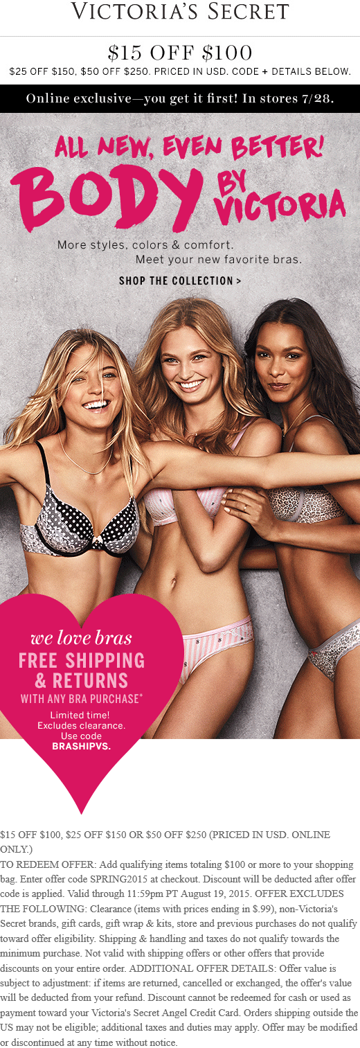 Victorias Secret Coupon March 2017 $15 off $100 online at Victorias Secret via promo code SPRING2015
