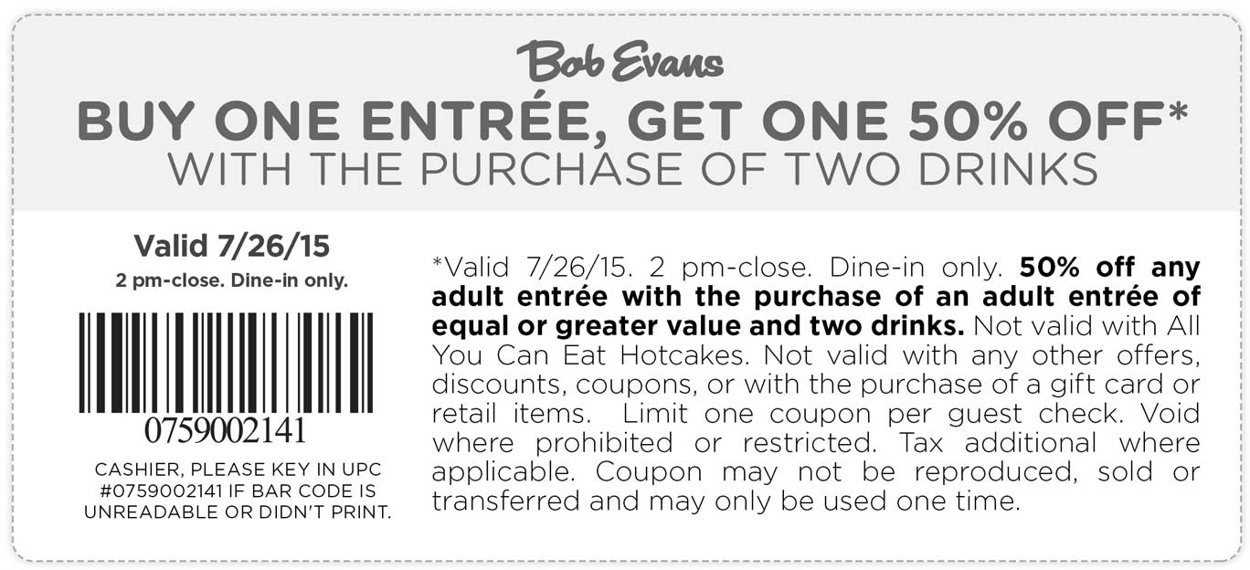 Bob Evans Coupon May 2017 Second entree 50% off Sunday at Bob Evans