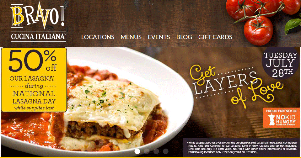BravoCucinaItaliana.com Promo Coupon 50% off lasagna Tuesday at Bravo Cucina Italiana
