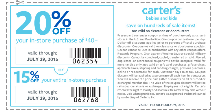 Carters Coupon June 2017 15-20% off at Carters