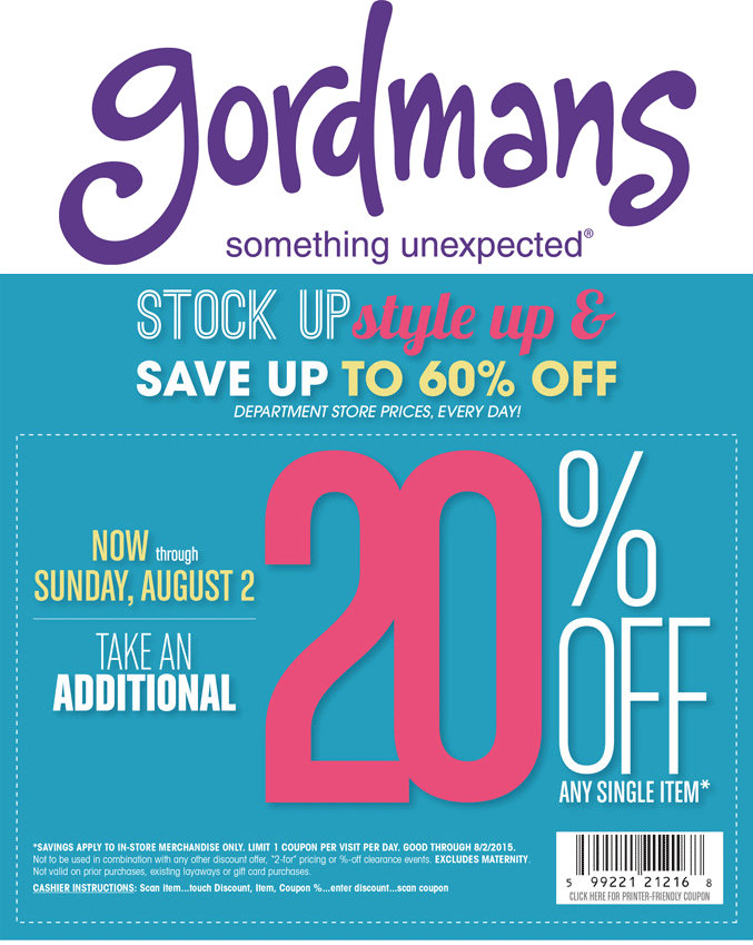 Gordmans Coupon May 2017 20% off a single item at Gordmans