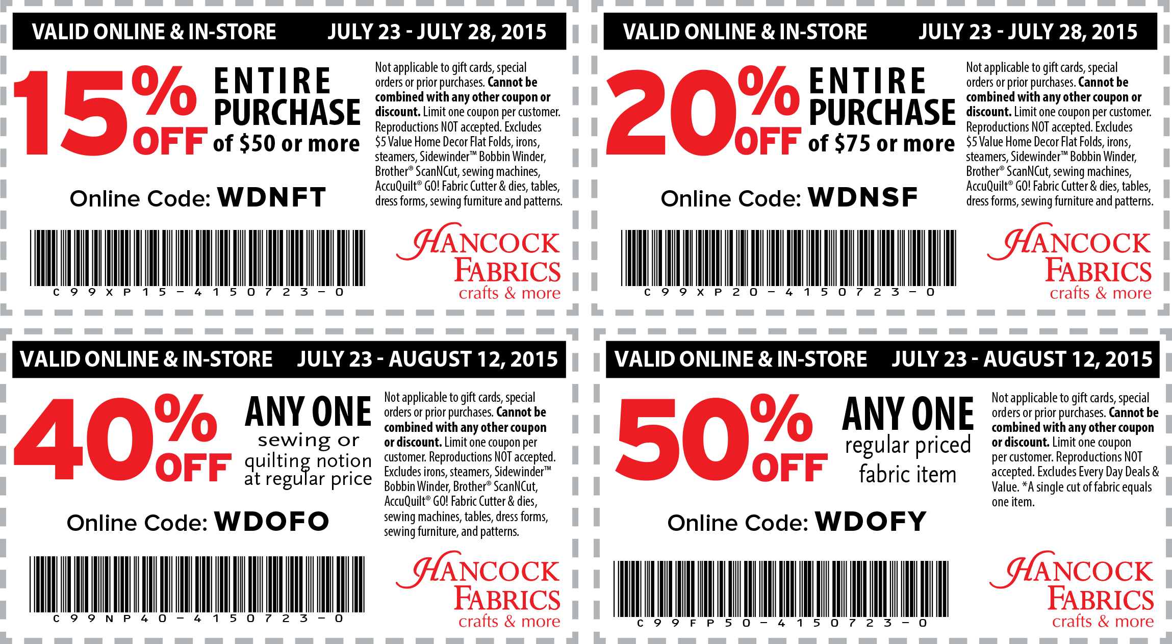 Hancock Fabrics Coupon September 2018 50% off a single item & more at Hancock Fabrics, or online via promo code WDOFY