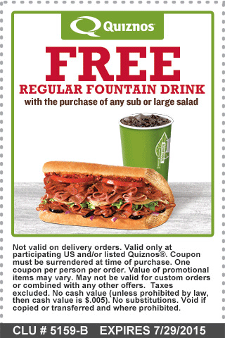 Quiznos Coupon December 2016 Free drink with your sub or salad at Quiznos