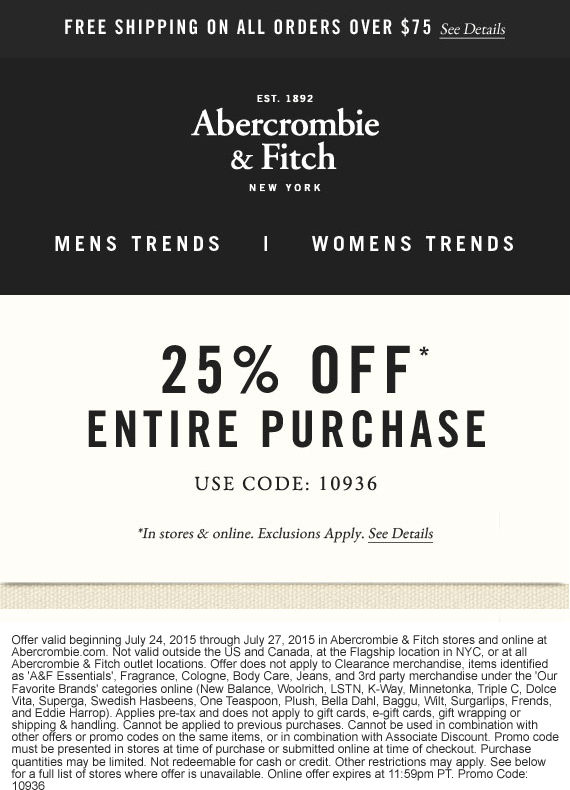Abercrombie & Fitch Coupon October 2016 25% off at Abercrombie & Fitch, or online via promo code 10936