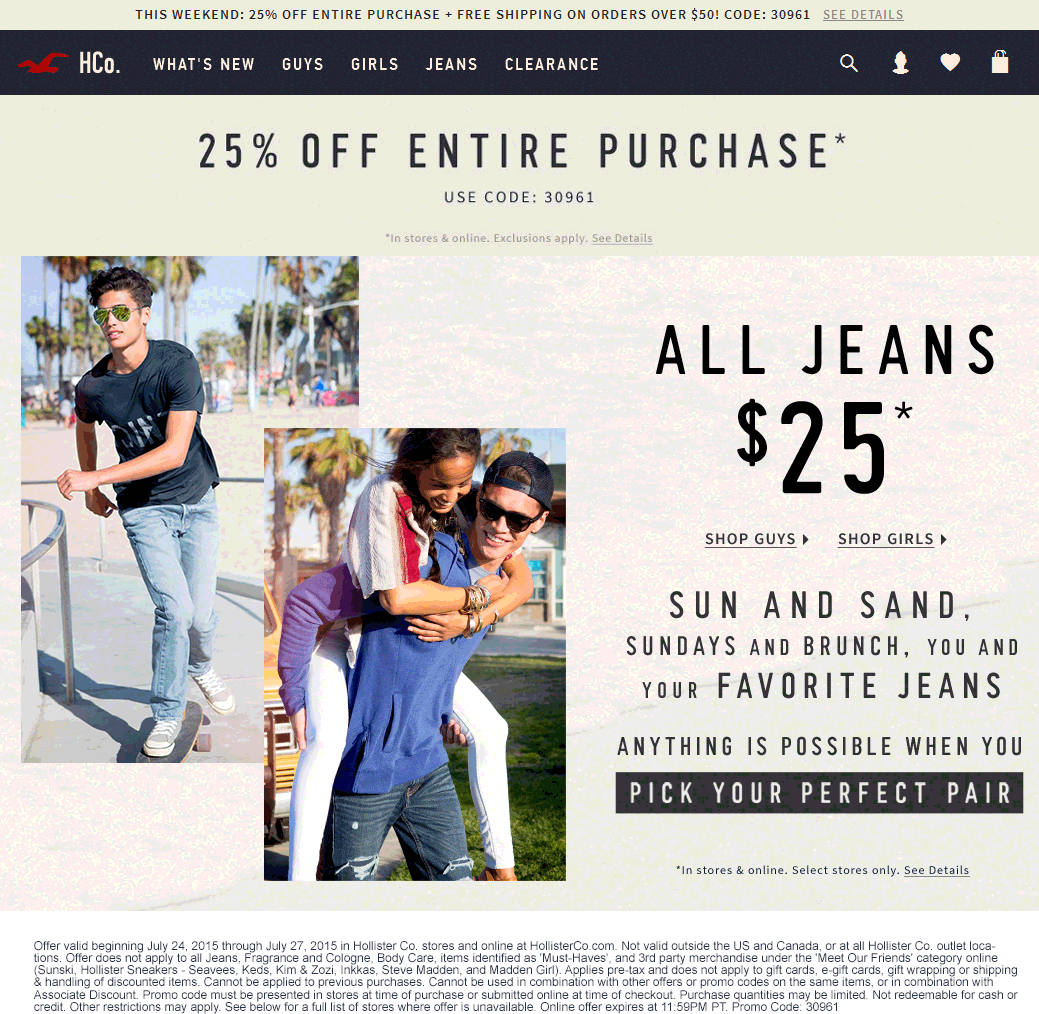 Hollister Coupon April 2017 25% off at Hollister, or online via promo code 30961