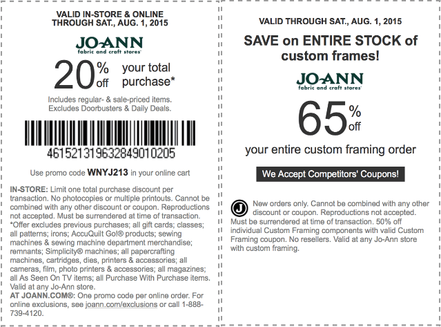 Jo-Ann Fabric Coupon January 2018 20% off at Jo-Ann Fabric, or online via promo code WNYJ213