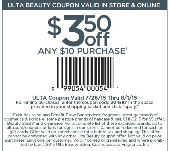 Ulta Coupon March 2017 $3 off $10 at Ulta, or online via promo code 304597