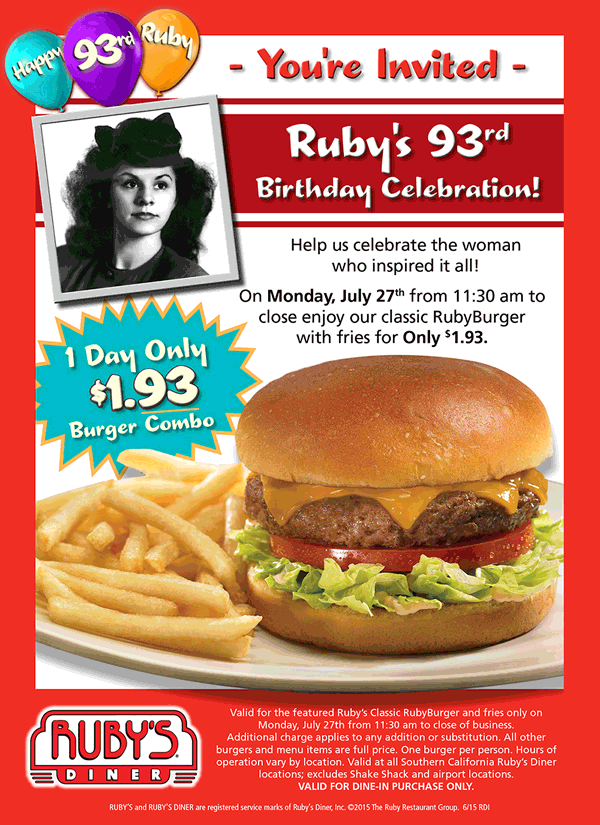 Rubys Diner Coupon February 2017 Cheeseburger + fries for $1.93 today at Rubys Diner