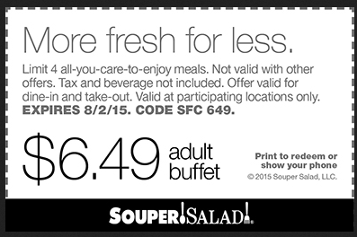 Souper Salad Coupon October 2016 $6.49 buffet at Souper Salad restaurants