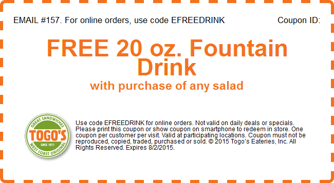Togos Coupon October 2017 Free drink with your salad at Togos sandwiches