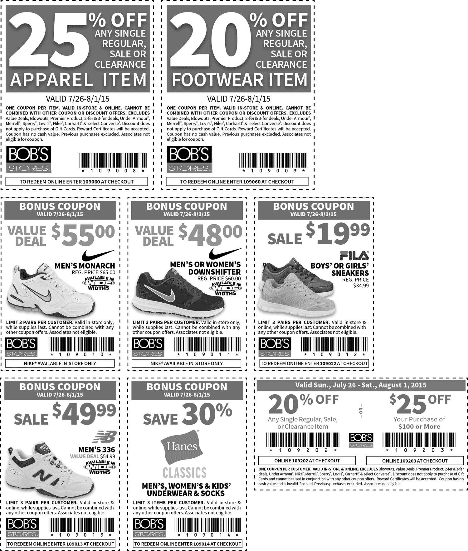 Bobs Stores Coupon December 2016 20-25% off & more at Bobs Stores, or online via promo code 109060