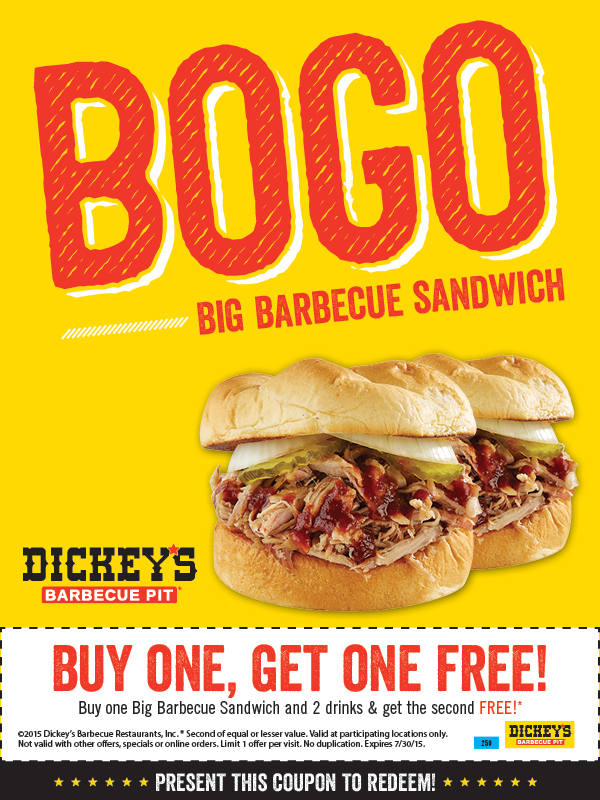 Dickeys Barbecue Pit Coupon October 2018 Second sandwich free at Dickeys barbecue pit