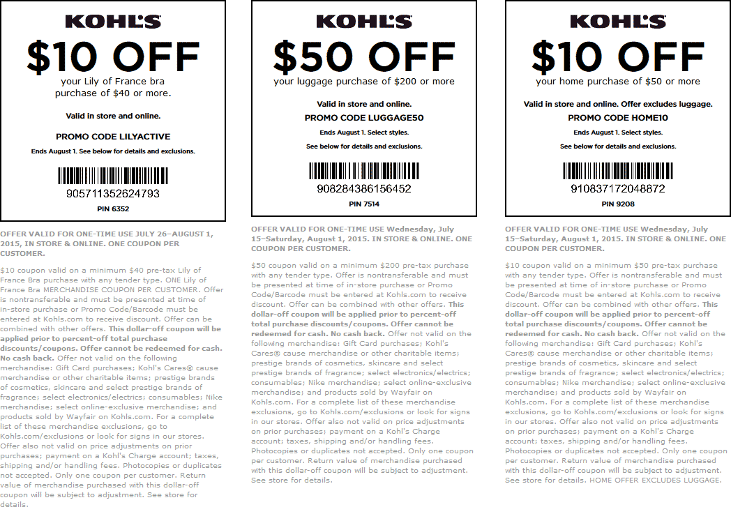 Kohls Coupon November 2018 $10 off $40 on bras, $50 off $200 luggage at Kohls, or 15% the tab online via promo code SEASIDE