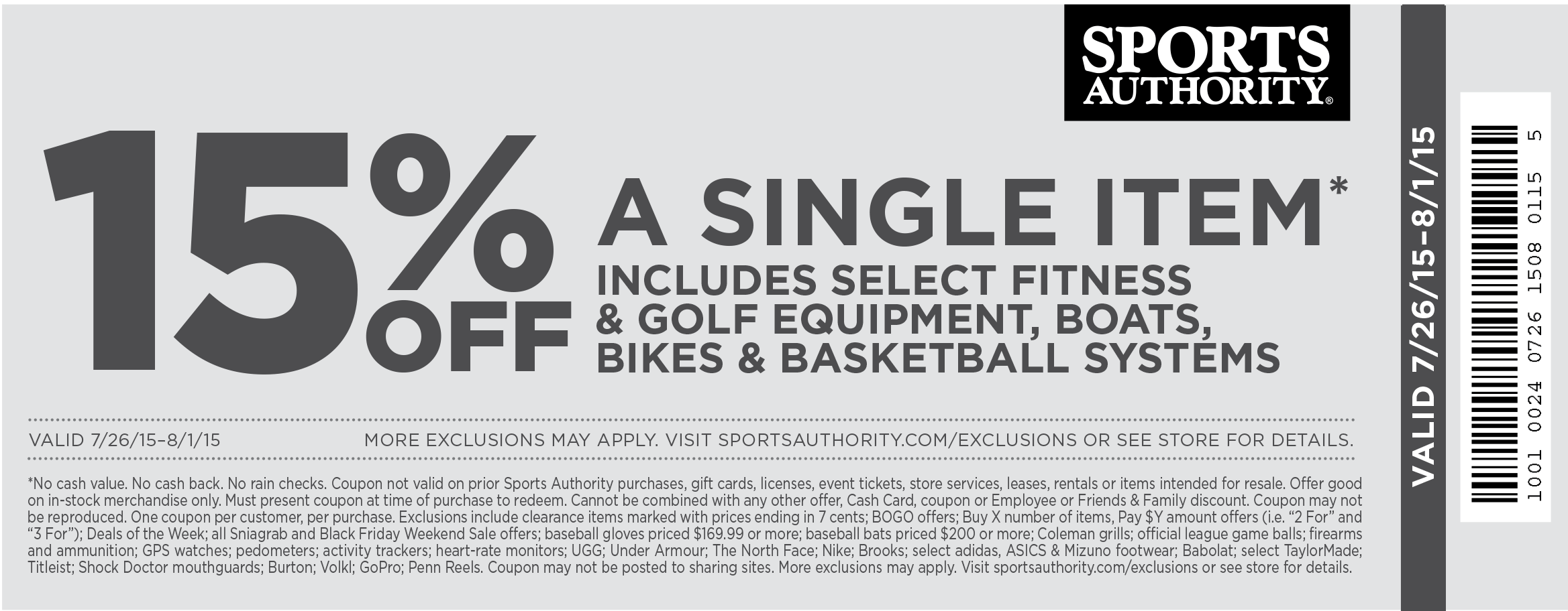 Sports Authority Coupon January 2017 15% off a single item at Sports Authority
