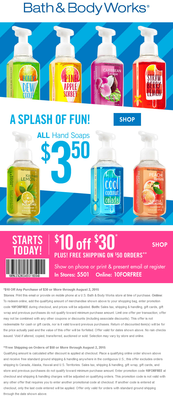 Bath & Body Works Coupon April 2018 $10 off $30 at Bath & Body Works, or online via promo code 10FORFREE