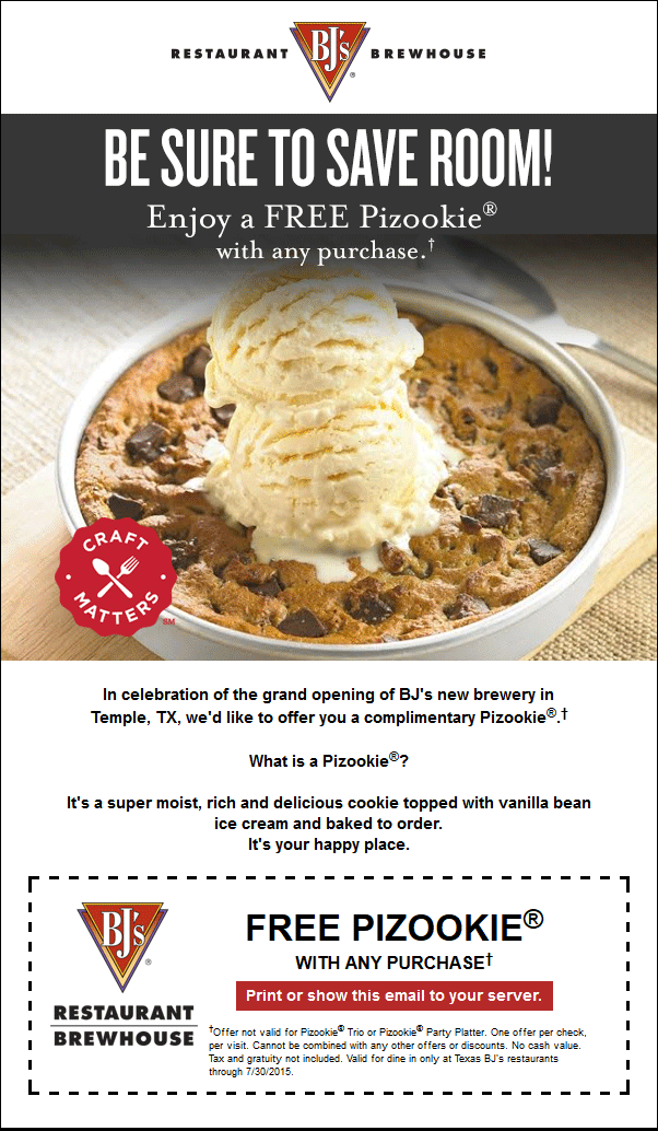 BJs Restaurant Coupon June 2017 Ice cream topped cookie free with any order at BJs Restaurant