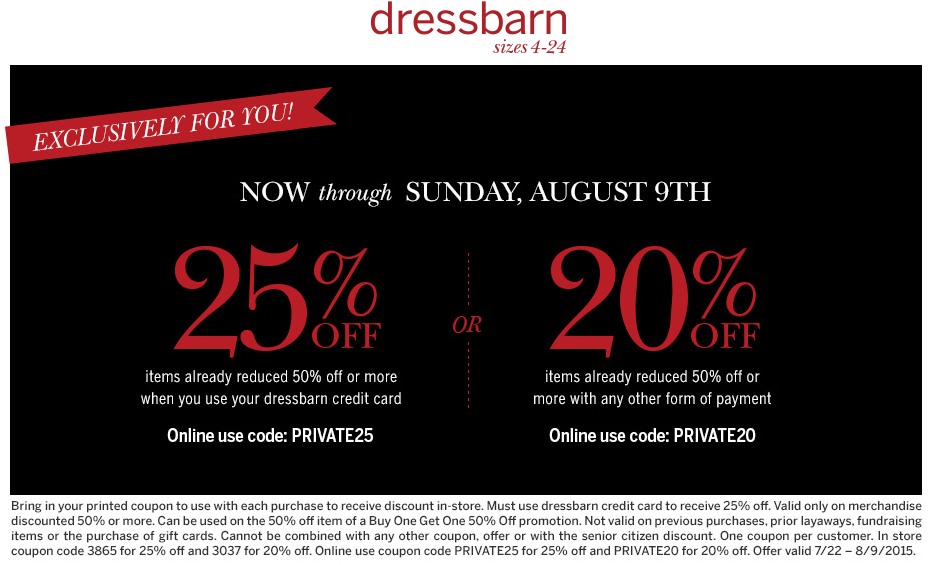 Dressbarn Coupon November 2017 Extra 20% off sale items at Dressbarn, or online via promo code PRIVATE20
