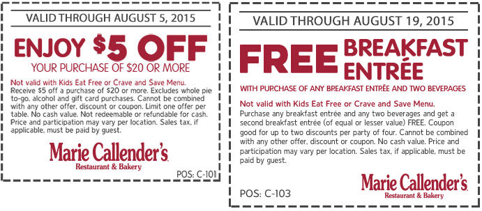 Marie Callenders Coupon May 2017 Second breakfast free & $5 off $20 at Marie Callenders restaurant & bakery