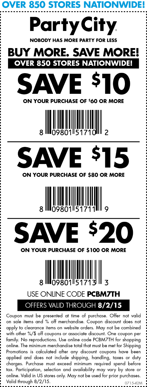 Party City Coupon May 2018 $10 off $60 & more at Party City, or online via promo code PCBM7TH