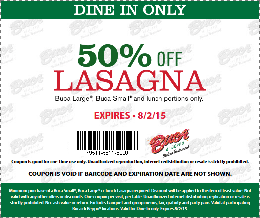 Buca di Beppo Coupon March 2017 50% off lasagna at Buca di Beppo restaurants