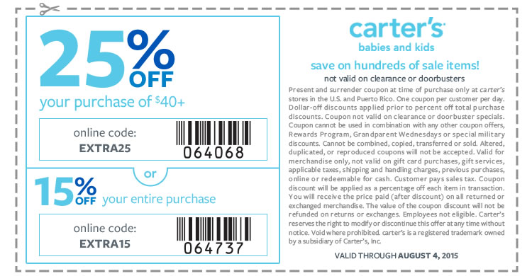 Carters Coupon March 2017 15-25% off at Carters, or online via promo code EXTRA15