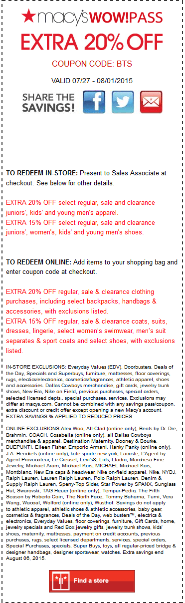 Macys Coupon July 2017 Extra 20% off at Macys, or online via promo code BTS
