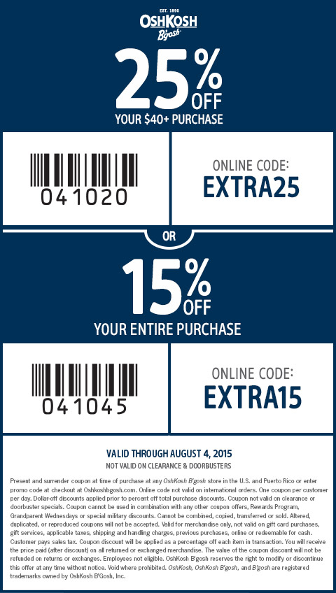 OshKosh Bgosh Coupon April 2018 15-25% off at OshKosh Bgosh, or online via promo code EXTRA15