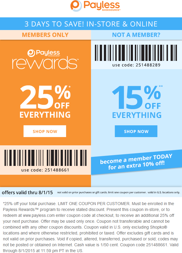 Payless Shoesource Coupon November 2018 15-25% off at Payless Shoesource, or online via promo code 251488289