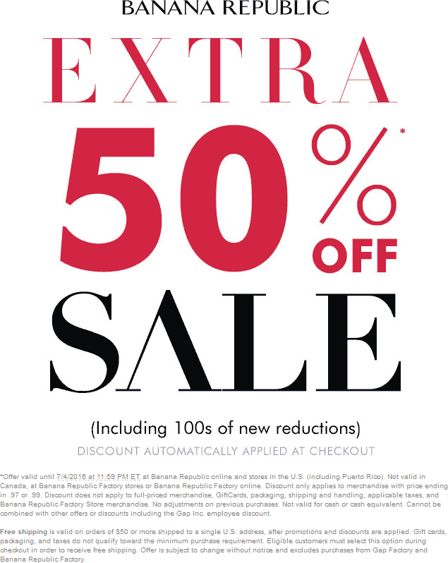 Banana Republic Coupon December 2016 Extra 50% off sale items at Banana Republic, ditto online