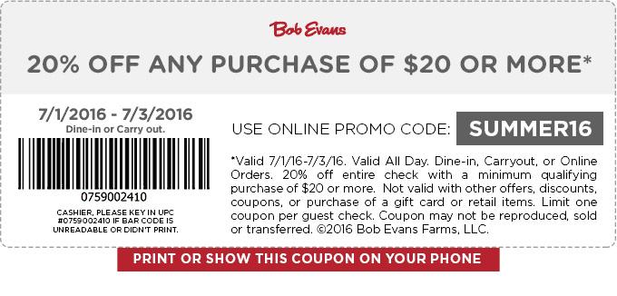 Bob Evans Coupon December 2016 20% off $20 at Bob Evans restaurants