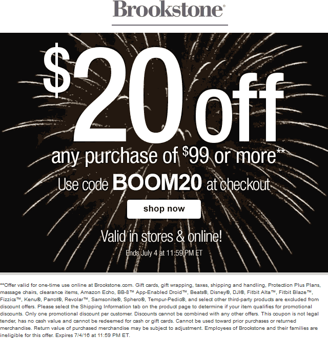 Brookstone Coupon September 2017 $20 off $99 at Brookstone, or online via promo code BOOM20