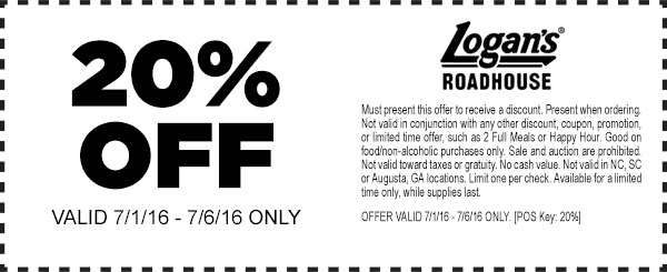 Logans Roadhouse Coupon January 2017 20% off at Logans Roadhouse restaurants