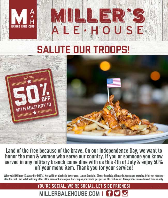 Millers Ale House Coupon May 2017 Military ID scores 50% off Monday at Millers Ale House restaurants