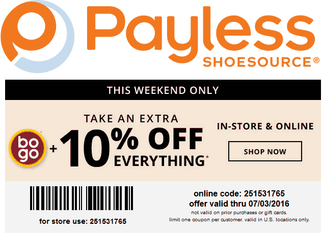 Payless Shoesource Coupon March 2018 2nd pair free + 10% off at Payless Shoesource, or online via promo code 251531765 (07/03)