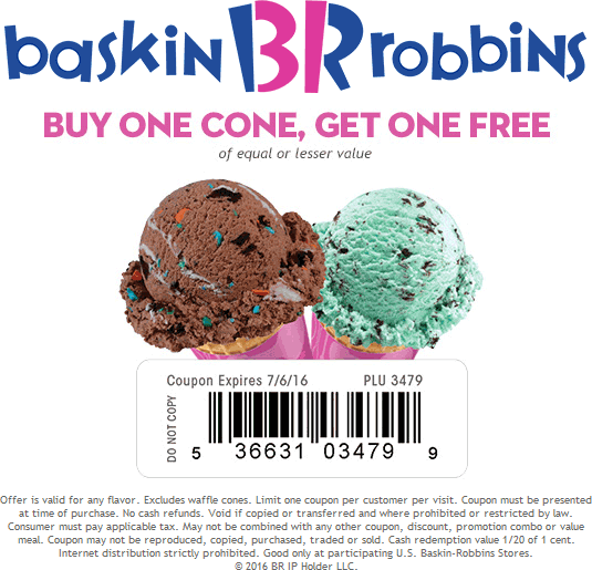 Baskin Robbins Coupon January 2017 Second ice cream cone free at Baskin Robbins