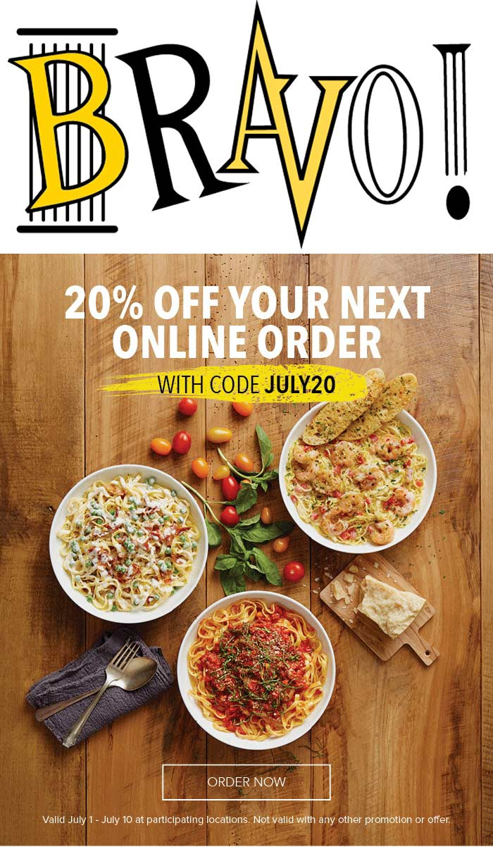 Bravo Coupon March 2018 20% off online orders at Bravo Italian restaurants