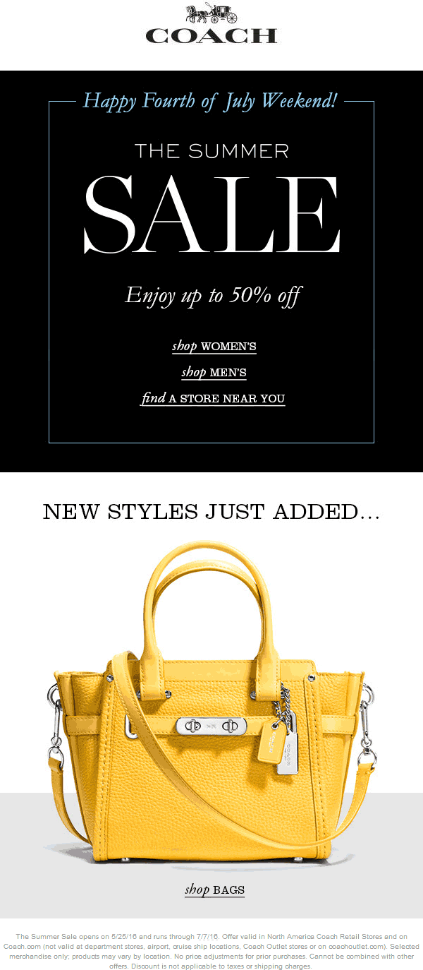 Coach Coupon April 2017 50% off sale going on at Coach, ditto online