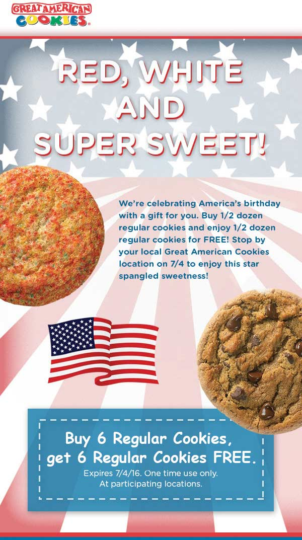 Great American Cookies Coupon January 2017 Second half-dozen cookies free at Great American Cookies
