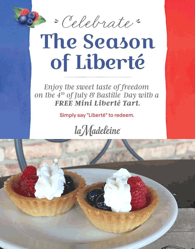 La Madeleine Coupon June 2017 Free tart Monday at La Madeleine French cafe
