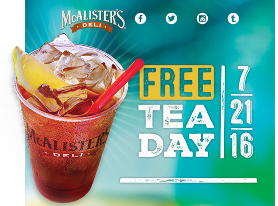 McAlisters Deli Coupon May 2017 Free tea the 21st at McAlisters Deli
