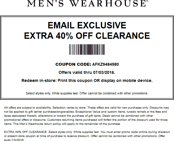 Mens Wearhouse Coupon August 2017 Extra 40% off clearance at Mens Wearhouse, or online via promo code AFKZ9484980