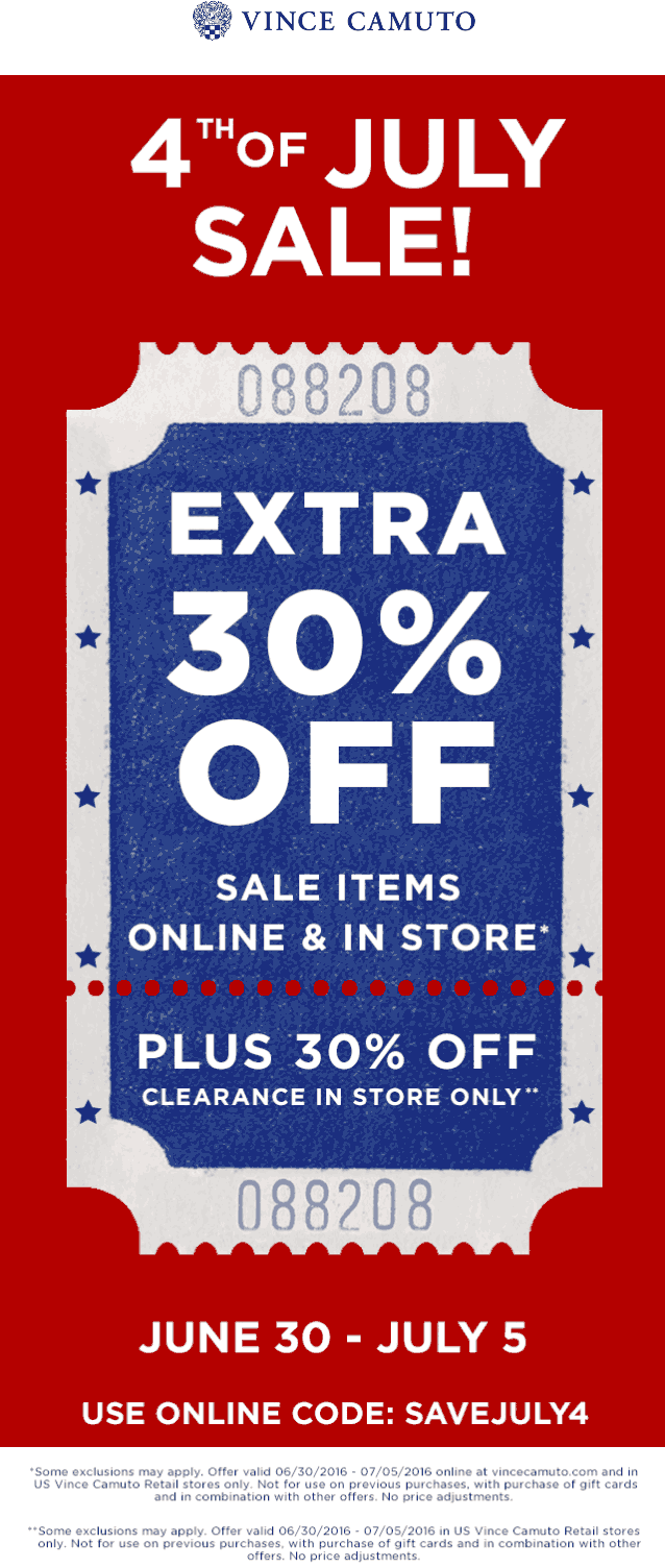Vince Camuto Coupon December 2016 Extra 30% off sale items at Vince Camuto, or online via promo code SAVEJULY4