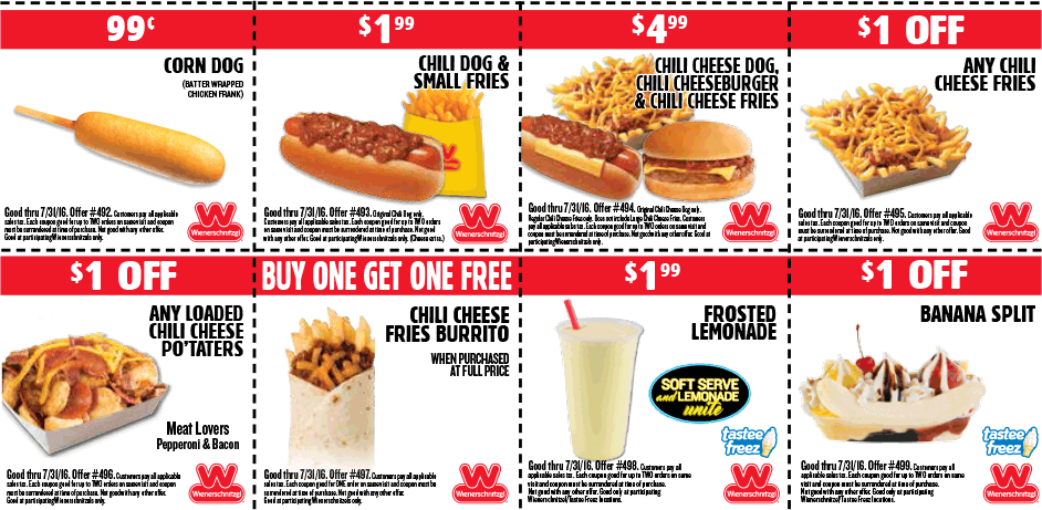 Wienerschnitzel Coupon July 2017 $1 corn dogs, second burrito free & more at Wienerschnitzel restaurants