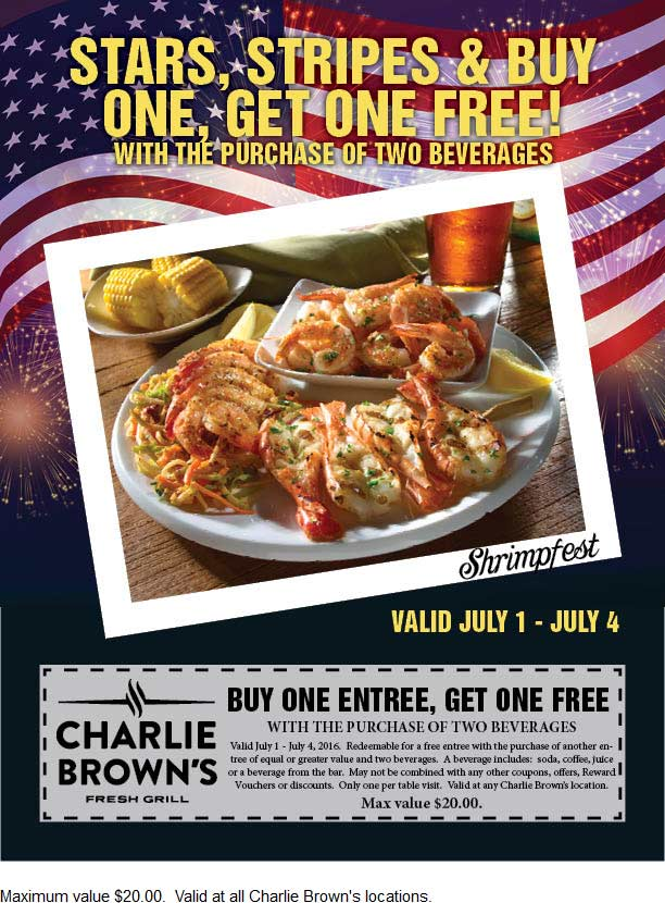 Charlie Browns Coupon August 2017 Second entree free at Charlie Browns fresh grill