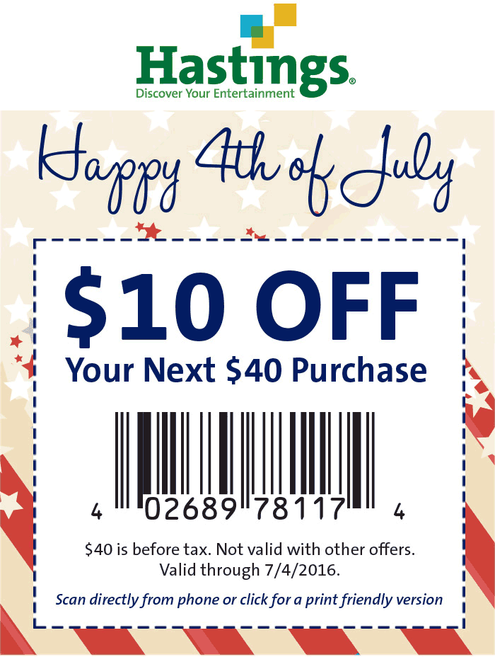 Hastings Coupon August 2017 $10 off $40 at Hastings
