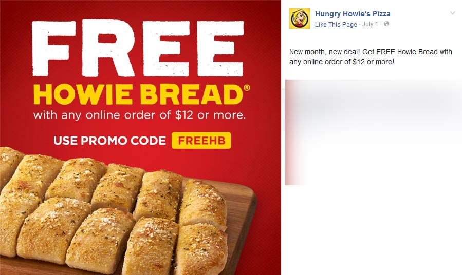 HungryHowies.com Promo Coupon Free howie bread with $12 online at Hungry Howies pizza via promo code FREEHB
