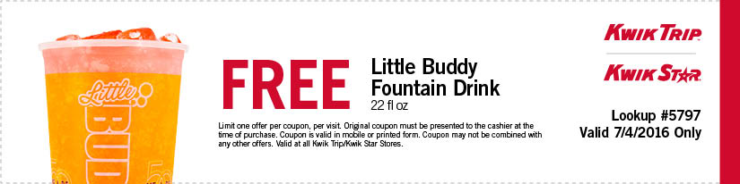 Kwik Trip Coupon May 2017 Free fountain drink today at Kwik Trip gas stations