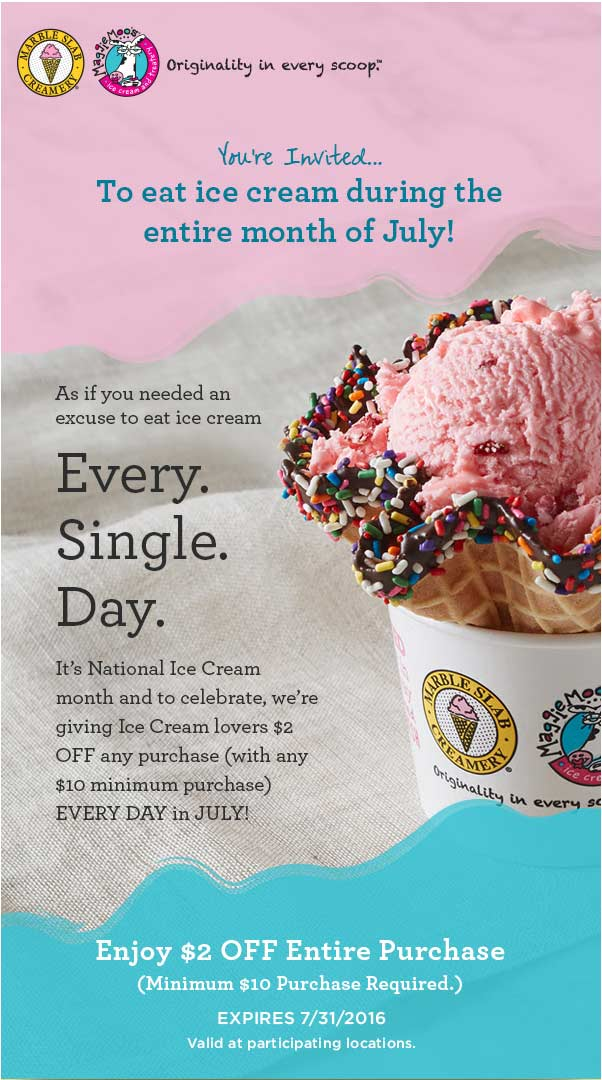 Marble Slab Creamery Coupon July 2017 $2 off $10 on ice cream at Marble Slab Creamery